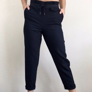 TOPSHOP Navy Blue Drawstring Tapered Slim Trousers